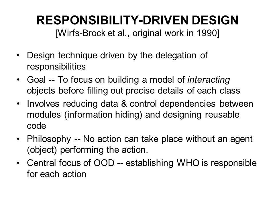 RESPONSIBILITY-DRIVEN DESIGN [Wirfs-Brock et al